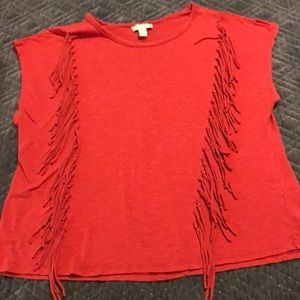 Rusty Red Fringed Tee